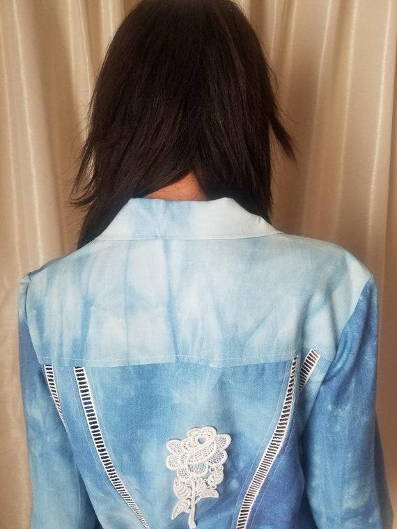 70s vintage nos s small medium m jeans jacket Ron… - image 9