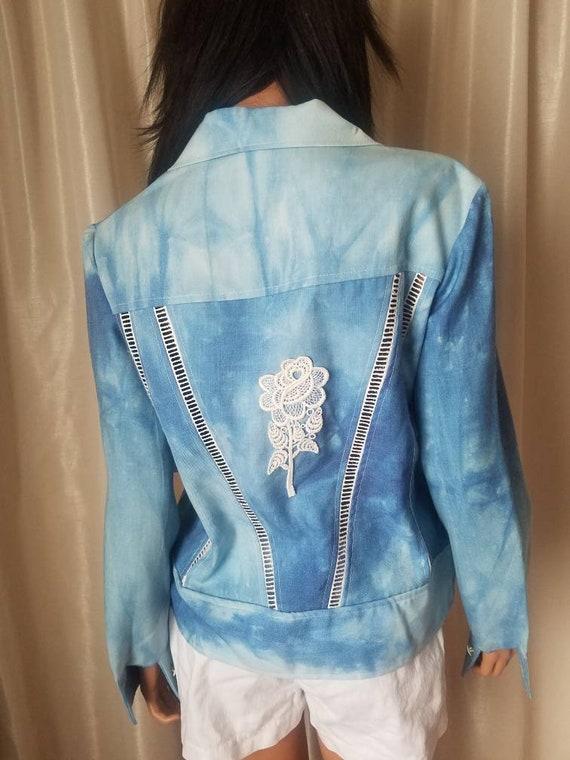 70s vintage nos s small medium m jeans jacket Ron… - image 7