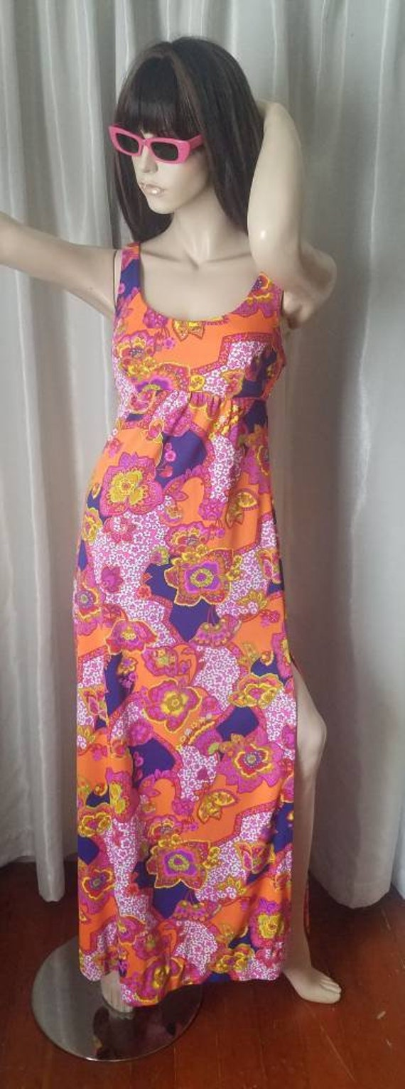 60s 70s vintage maxi dress Catalina medium day gl… - image 2