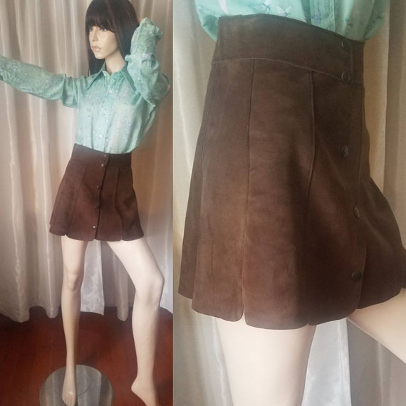60s 70s vintage brown suede leather mini skirt ext