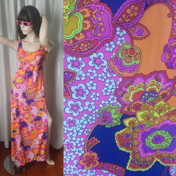 60s 70s vintage maxi dress Catalina medium day gl… - image 1