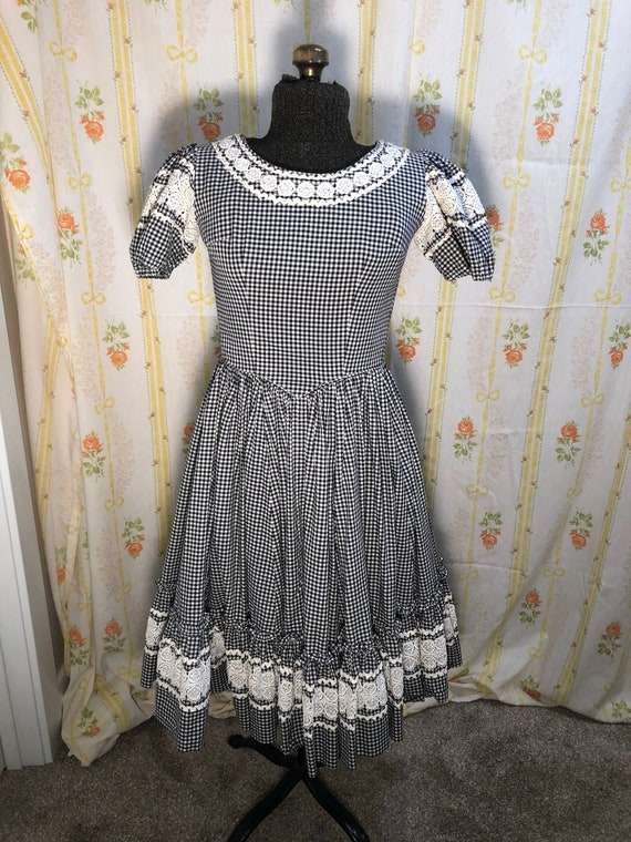 Vintage Gingham Square Dancing Dress