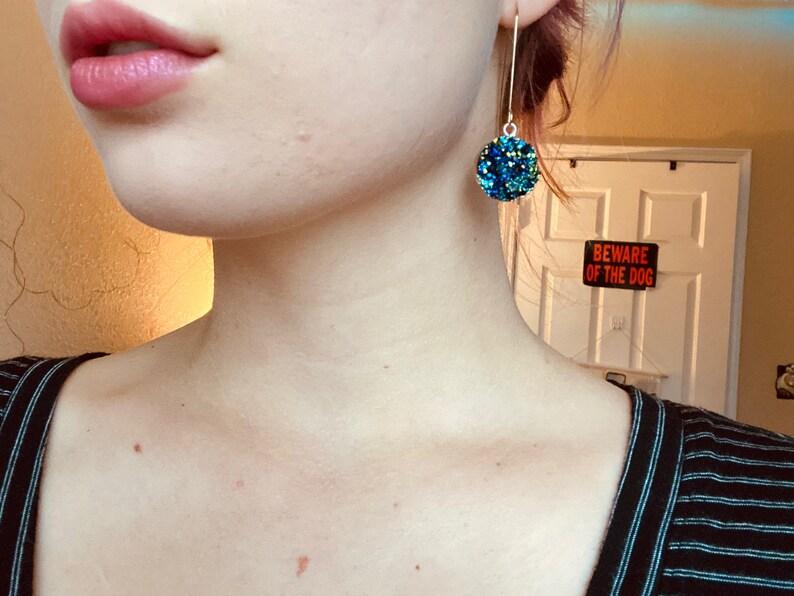 Blue /& Gold Druzy Dangle Earrings