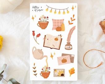 """Sticker board """"Autumn Reading"""" for bullet journal, scrapbooking, art journal, card shop"""