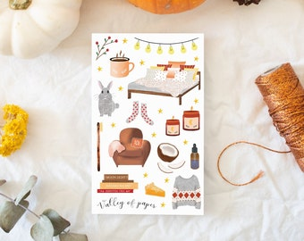 "Stickers ""Evening cocooning"" for Bullet journal, scrapbooking, art newspaper, carterie"