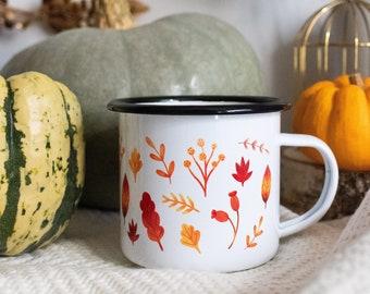 "Enamelled cup ""Autumn Flight"" for consumption or autumn decoration"