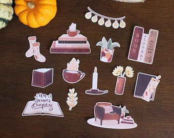 """Stickers pack """"Lecture cocooning"""", 13 large stickers AUTUMN for Bullet journal, scrapbooking, card, art journal"""