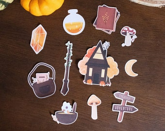 """Stickers pack """"Autumn tale"""", 12 large AUTUMN stickers for Bullet journal, scrapbooking, card, art journal"""