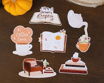 """LOT 6 STICKERS """"Autumn reading"""" for computer, notebook, suitcase, wall"""