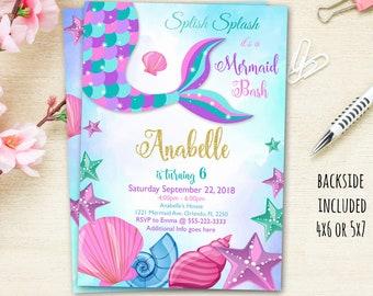 Mermaid Invitation Tail Party Digital File