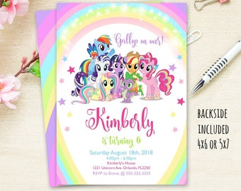Little Pony Invitation Birthday InvitationMy Party Digital File