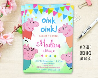 Peppa Pig Party Invitation Birthday Invites Printable File