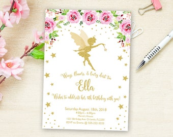 Printable Fairy Invitation Birthday Party Personalized