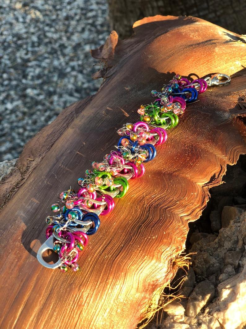 Beaded Jump Ring Bracelet Pull Tab