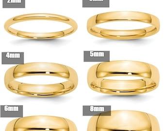 10k White Gold 2mm Light Comfort Fit Wedding Ring Band Size 4-14 Full /& Half Sizes