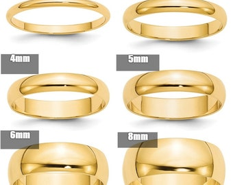 10K Solid Yellow Gold 2mm 3mm 4mm 5mm 6mm 8mm Wide Men s and Women s  Wedding Band Ring Sizes 4-14. Solid 10k Yellow Gold 54890d288a