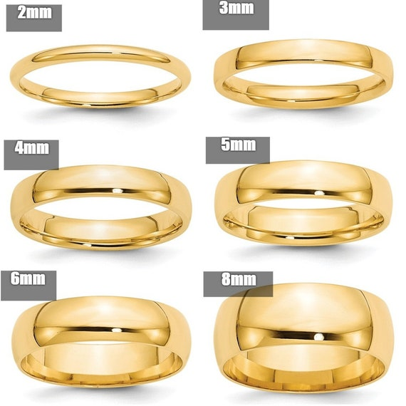 2mm Comfort Fit Men/'s /& Women/'s Wedding Band Ring Size 7 14K Yellow Gold
