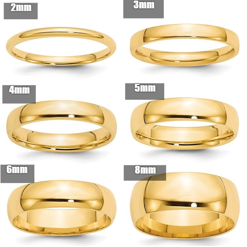 577e7f3d094 REAL Comfort Fit 10K Solid Yellow Gold 2mm 3mm 4mm 5mm 6mm 8mm Men's and  Women's Wedding Band Midi Thumb Toe Ring Sizes 4-14. Solid 10k Gold