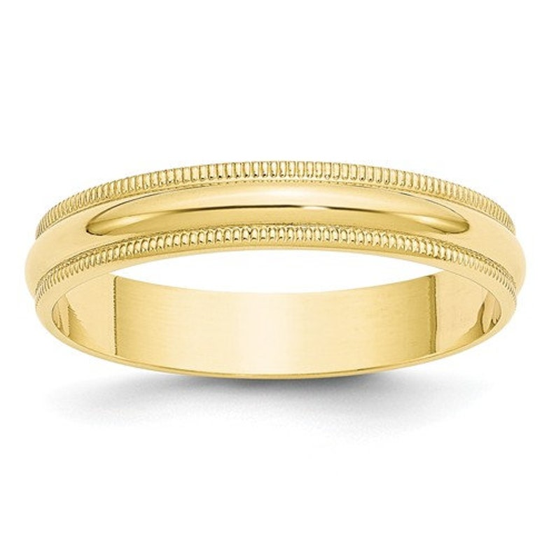 eb19e5b586e 10K Solid Yellow Gold 4mm Milgrain Men's and Women's Wedding Band Ring  Sizes 4-14. Solid 10k Yellow Gold, Made in the U.S.A. Ships Free