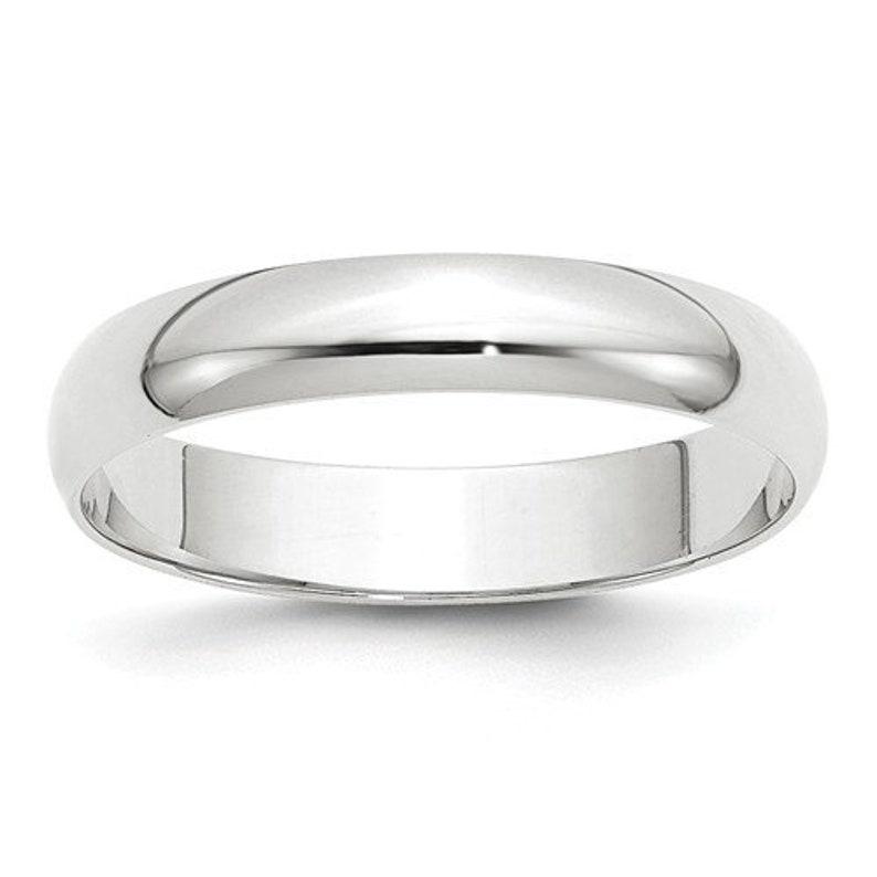 51f16b730c1 10K Solid White Gold 4mm Men's and Women's Wedding Band Ring Sizes 4-14 Toe  Thumb Anniversary Engagement Midi Ring. Solid 10k White Gold
