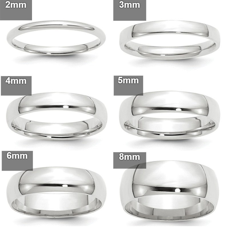 874f63a1852 REAL Comfort Fit 10K Solid White Gold 2mm 3mm 4mm 5mm 6mm 8mm Men's and  Women's Wedding Band Midi Thumb Toe Ring Sizes 4-14. Solid 10k Gold
