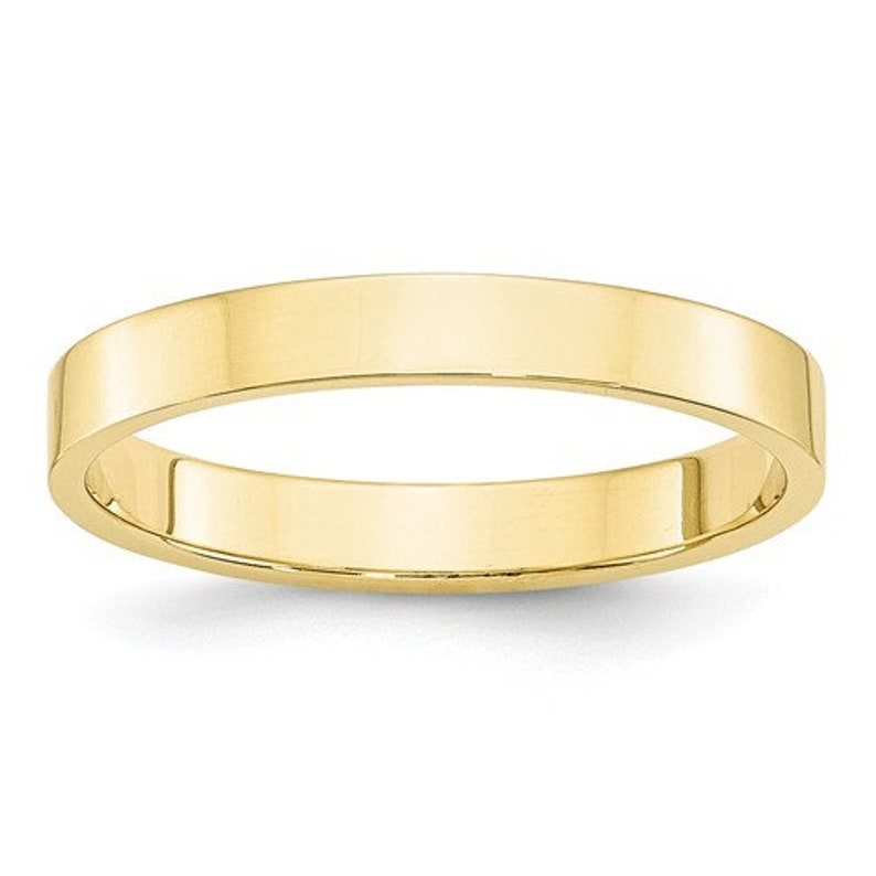 b38f9e495 10K Solid Yellow Gold 3mm Flat Men's and Women's   Etsy