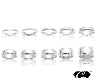 10K Solid White Gold 2mm 2.5mm 3mm 4mm 5mm 6mm 8mm 10mm 12mm Men's Women's Wedding Band Ring Sizes 4-14. Thumb Toe Midi Stacking Cigar Band