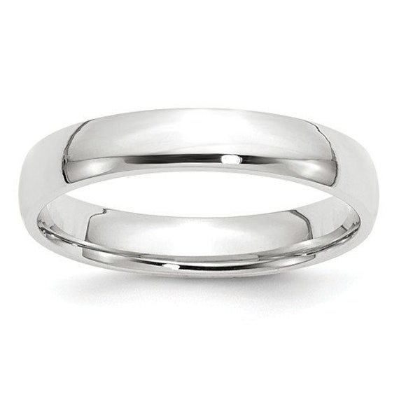 10K White Gold 4mm Standard Comfort Fit Band Ring