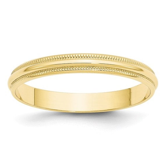 Mens and Womens 14k Yellow Gold Milgrain Plain Wedding Band 3mm Wide