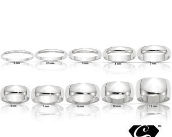 Sterling Silver 2mm 3mm 4mm 5mm 6mm 7mm 8mm 10mm 12mm Wedding Band Promise Engagement Ring Thumb Toe Midi Simple Minimalist Ring Sizes 4-13