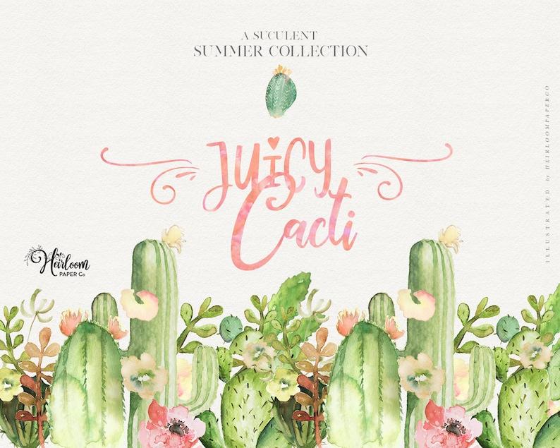5cdd0a7f78 Watercolor Cactus Clipart Juicy Cacti Elements Cacti   Etsy