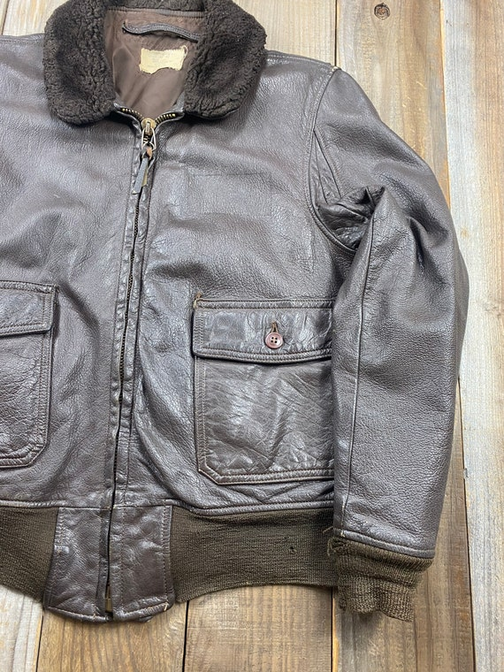 1970's US Military Air Force G-1 Leather Flight J… - image 2