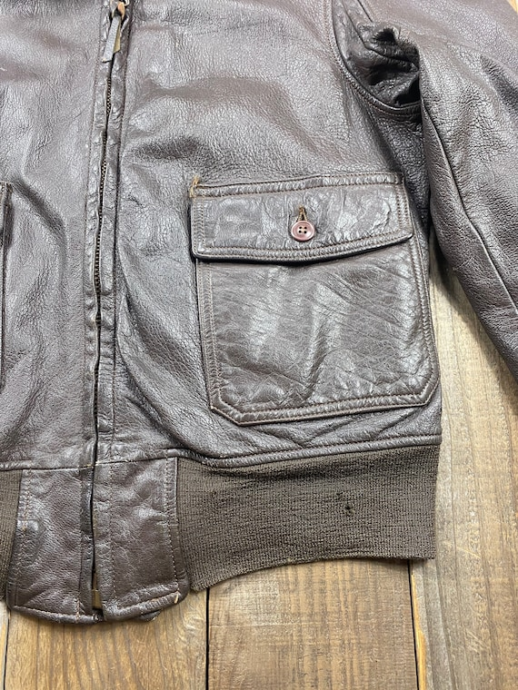 1970's US Military Air Force G-1 Leather Flight J… - image 3