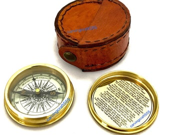 Antiques Brave Antique Brass Working Compass With Leather Case Marine Pocket Compass