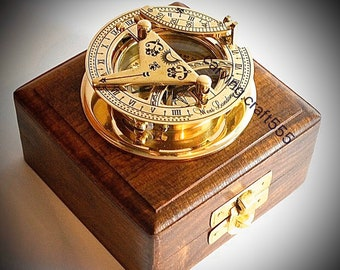 Collectible Brass Sundial Compass  - Pocket Sundial Compass