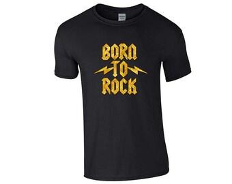 0dc83be8 Born To Rock Heavy Metal Cute Thrash Music Cotton T Shirt T-Shirt Mens  Womens