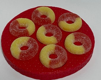 Peach rings silicone mold 7 cavities mini donuts mold ring mold silicone mold food mold fake bake mold soap mold candy mold chocolate mold