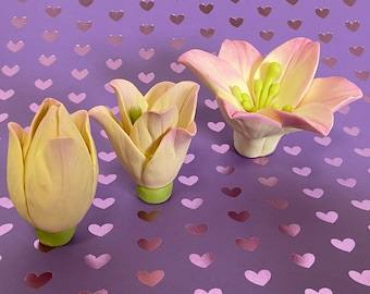 Lily flowers set of 3 molds lily silicone molds 3D lily mold lily soap mold soap molds flower molds candle molds lily for bouquet molds