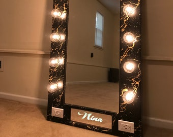 Mirror with lighting Vanity Full Length Hollywood Mirror With Name Black With Gold Metallic Visual Hunt Full Length Mirror With Lights Etsy