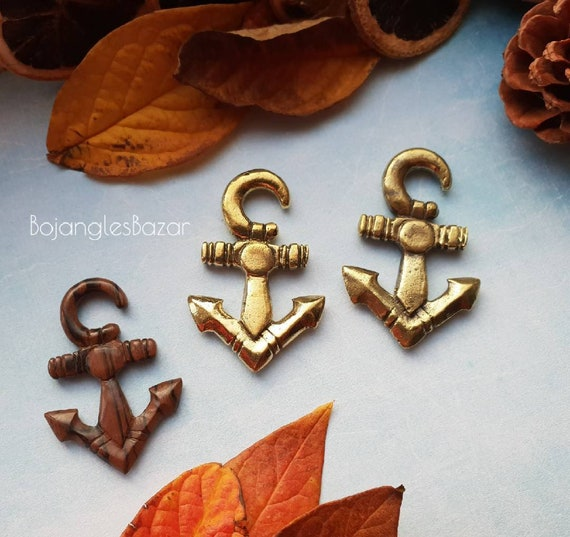 Sold as a pair Nautical Stretched Lobes Ear Hangers 6mm 2ga upwards Carved Wood Anchor Ear Weights
