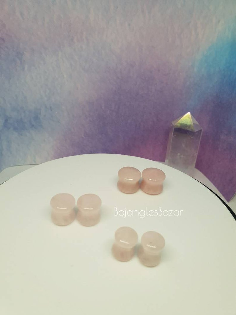 0 ga 34 Stretched Lobes Stone Plugs Rose Quartz Double Flared Plugs 8mm up to 20mm