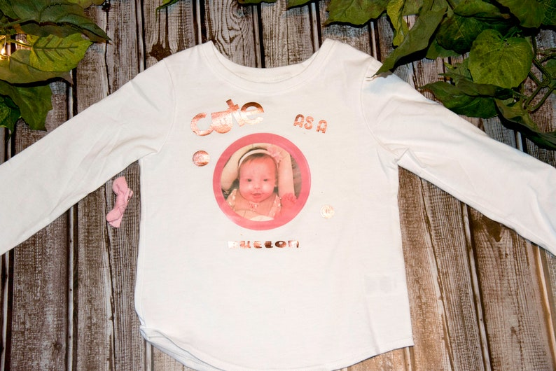 Cute as a Button cute tees gift present custom picture shirt kids photos childrens shirts toddler shirt personalized shirt