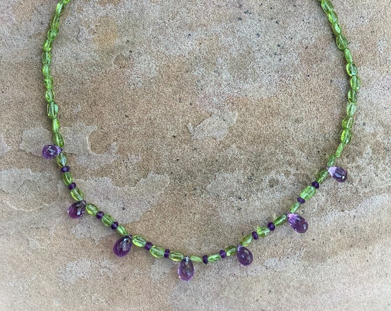 Peridot Necklace with Amethyst Briolettes
