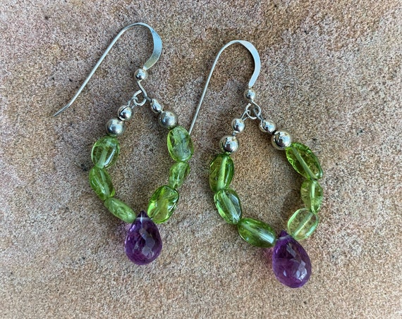 Peridot Drop Earrings with Amethyst Briolettes