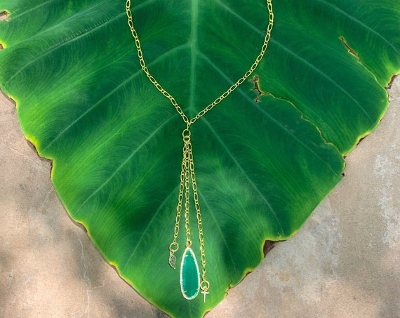 Emerald Green Teardrop Y Necklace