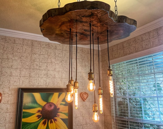 Live Edge Pecan Wood Chandelier