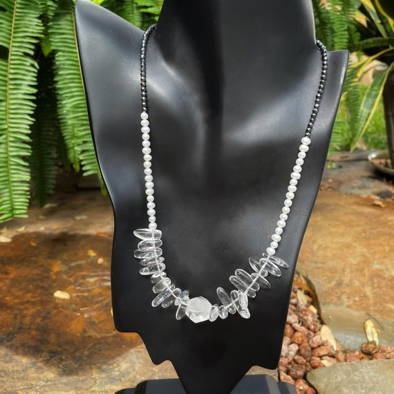 Crystal Quartz, Pearl and Hematite necklace