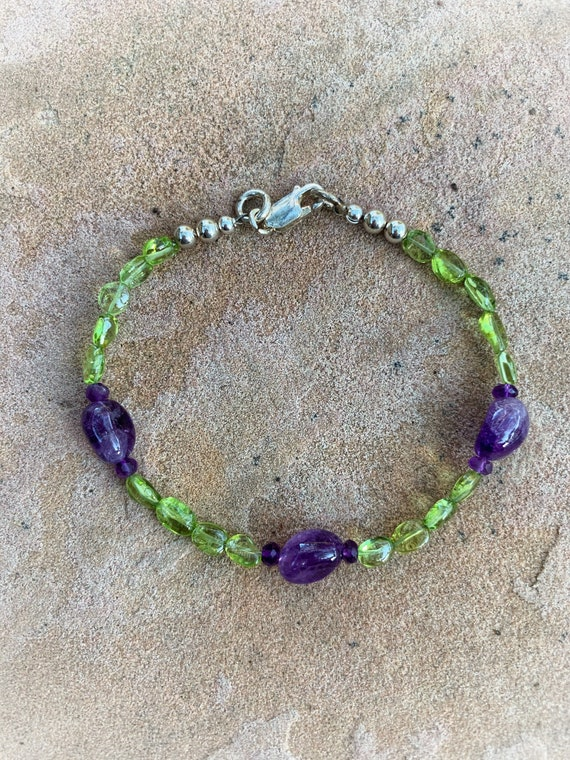 Peridot Bracelet with Amethyst Stations