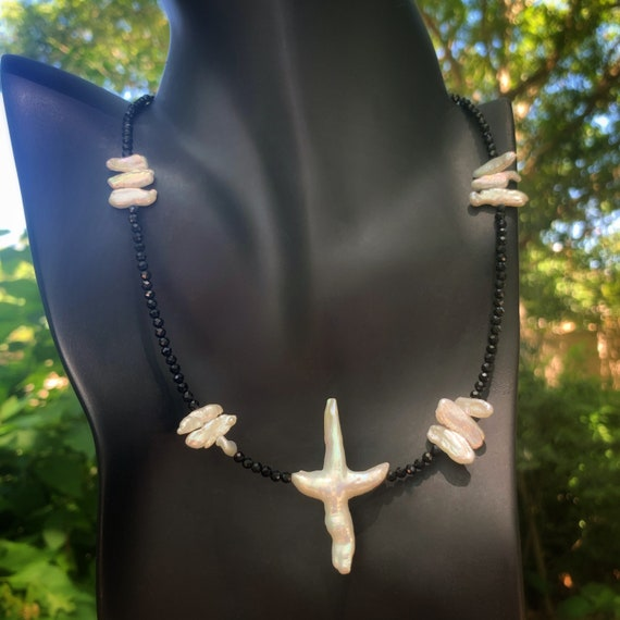Trinity Cross Pearl and Black Spinel Necklace