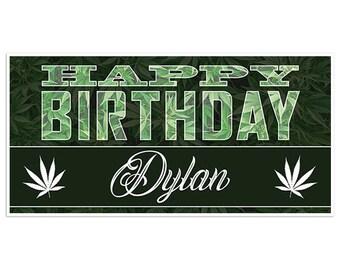 Marijuana Black Birthday Banner Personalized Party Backdrop Decoration